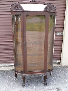 Antique Oak Curved Glass China Cabinet Carved Mirrored Top