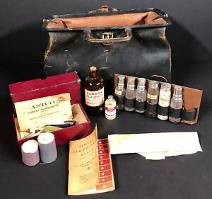 Antique Early 1900 S Doctor Apothecary Travel Kit Bag W Tools Vials