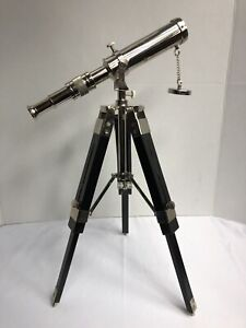 Nautical Collectible 9 Chrome Bronze Finish Telescope With Black Tripod Stand