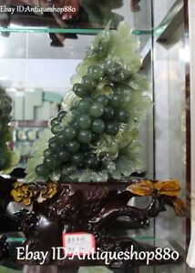 15 Chinese Natural Green Jade Carving Magpie Bird Grape Grapes Fruit Statue