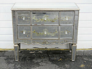 Vintage Mirrored Glass Serpentine Front Cabinet Cupboard Small Dresser 9604