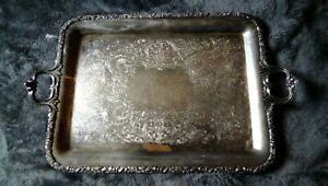 Vintage Large Silver Plated Footed Waiter Serving Tray Platter 24 Heavy Tlc