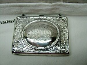 Antique Sterling Silver Calling Card Case R Blackinton Co Flower