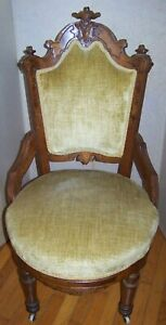 Eastlake Victorian Carved Burl Chair Walnut Mahogany