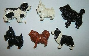 6 Small Vintage Hand Carved Wooden Dogs Made In Philadelphia Pa Prison 1950 S