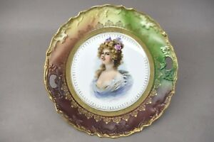Portrait Plate China Porcelain Victorian Woman Blonde Gold Gilt Green
