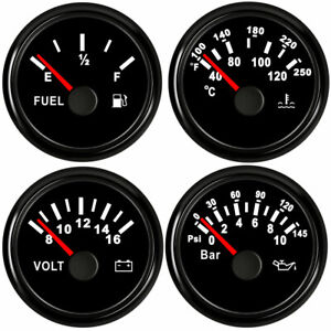 52mm 2inch 4 Gauge Set fuel oil Pressure volt water Temp black 12v 24v Usa Stock