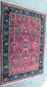 Vintage Oriental Wool Rug Hand Knotted Carpet Mahal Sarouk Sarough 6x4 Wine Made