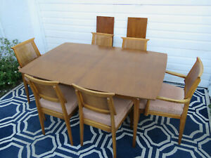 Mid Century Modern Dining Set Table With 2 Leaves And 6 Caned Chairs 9527