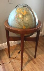 Mid Century Modern Replogle Heirloom 16 Light Up Floor Globe