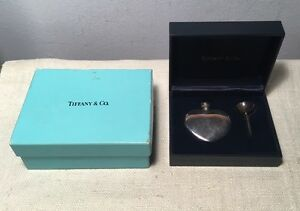 Tiffany Co Vintage Sterling Silver Heart Shaped Perfume Bottle Funnel Box