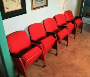 A Row Of 4 Heywood Wakefield Movie Theatre Seats Vintage Theater Seat Set