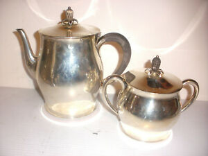 Vintage Tuttle Sterling Silver Paul Revere 2 Pc Tea Pot Sugar Bowl Set