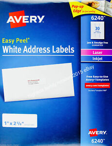 Avery 6240 Easy Peel Address Lables 1 w X 2 5 8 l White 4200 Ct
