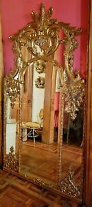 Gold Gilt Highly Carved Wood Pier Mirror Louis Xv 7 Feet Tall John Richard