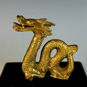 Chinese Gilt Bronze Dragon On Wood Stand