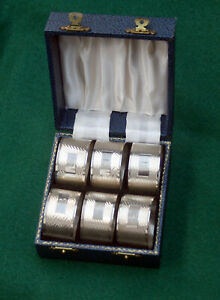 Boxed Set Of 6 Vintage Art Deco English Jh S Sterling Napkin Rings B Marked