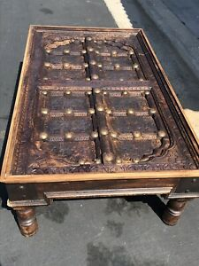Antique Indian Hand Carved Old Wooden Door Coffee Table
