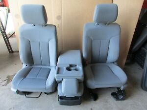 2012 Ford F150 Xlt Truck Front Grey Bucket Seats Cloth W Center Seat Console