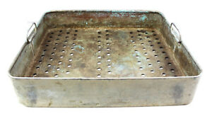 Copper Metal Square Wash Tub Tray Rack Basket With Handles Perforated Holes