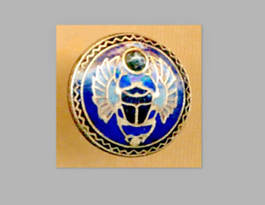 Antique Insect Bug Button Small Enamel Egyptian Scarab Beetle With Cut Steel