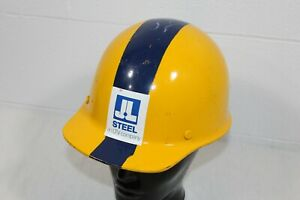 Vintage Msa Skullgard Suspension Fiberglass Safety Hard Hat Yellow Blue Stripe