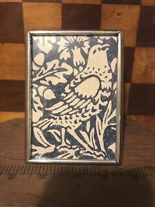 Vintage Mid Century Modern Sterling Silver Teak Wood Picture Frame Towle Silver