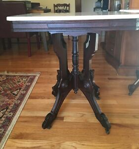 Victorian Eastlake Carved Dark Walnut And Marble Top Parlor Table