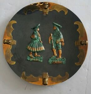 Vintage Peruvian Copper And Brass Decorative Plate Wall Hanging