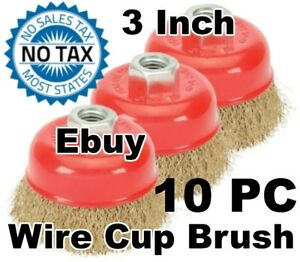 10 Cup 75mm Cleaner Remover Crimp Cup Brush Wire For 4 1 2 Angle Grinder