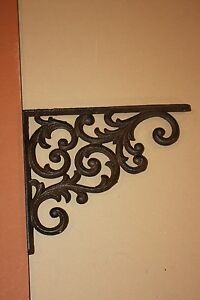2 Vintage Look Elegant Swirl Shelf Brackets Heavy Cast Iron 9 1 4 B 23