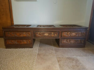 Beautiful Asian Carved Teak Wood Low Profile Coffee Table Carved All Sides