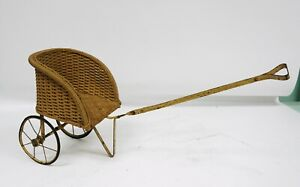Antique Hedstrom Union Wicker Baby Doll Carriage Pram Stroller Buggy Pull Toy