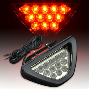 Universal Sporty F1 Style Triangle 12 Led Rear Stop Tail 3rd Brake Light Clear