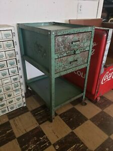 Vintage 1940 Industrial Lyon Rolling Tool Cart Cabinet Drawers Table Kitchen Is