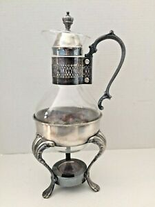 Silver Plated Corning Glass Coffee Carafe W Warmer Stand By Ls Co Vintage Guc