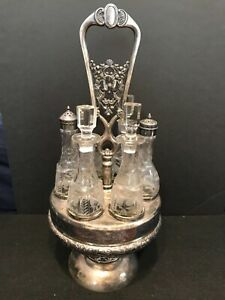 Victorian Silverplate Castor Condiment Set With Dogs And Birds 6 Etched Bottle