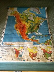 1957 North America Us School Pull Down Map A J Nystrom Original Wall Mount Works