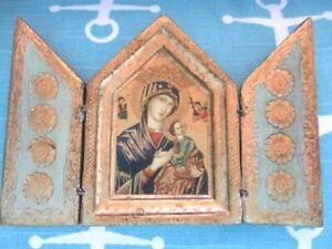 Jadite Green Gold Gilt Wood Italian Florentine Madonna Pocket Triptych Icon