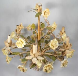 Mid Century Italian Tole Chandelier With Porcelain Flowers Six Light