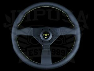 Personal Grinta 330mm Steering Wheel Black Leather Yellow Stitch