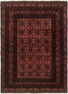 Hand Knotted Carpet 4 2 X 5 8 Traditional Vintage Wool Rug