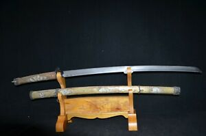 Collectable Japanese Samurai Katana Sword Skeleton Saya Signed Brass Sheath