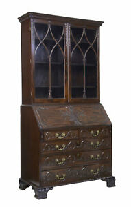 Early 19th Century Carved Mahogany Bureau Bookcase