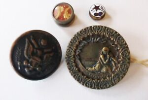 Antique Art Nouveau Cameo Metal Shank Enamel Buttons Lot Of 4