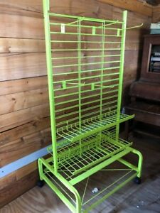 New Metal Wire Display Rack Shelves Powder Coated Green Two Sided Casters Hooks