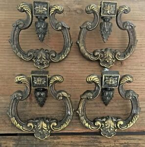4 Vintage Keeler Brass Co Kbc Dark Brass Heavy Ring Drop Pulls Elegant N4300