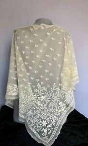 Early Victorian Embroidered Net And Point Ground Lace Large Triangle Shawl