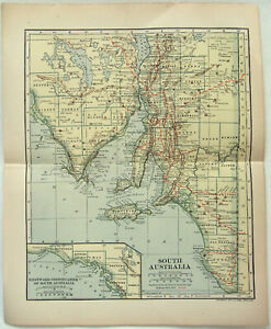 Original 1910 Map Of South Australia By Dodd Mead Company Antique