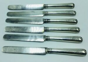 Faberge Russian Antique 84 Sterling Silver Set Of 6 Dinner Knives